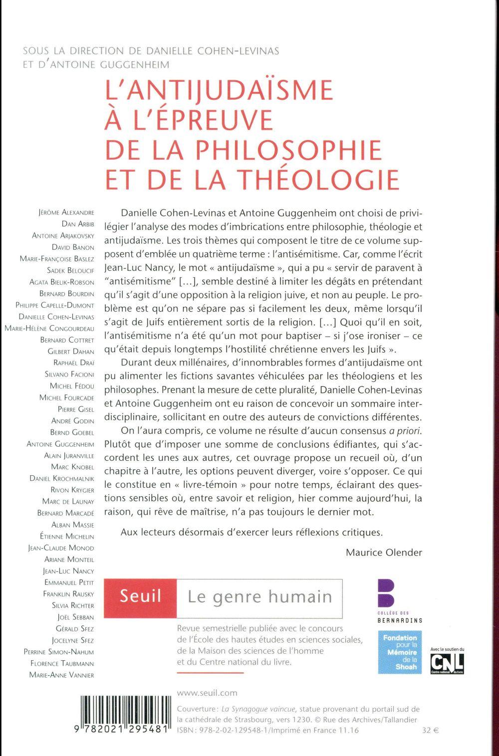 le genre humain n.56/57 ; l'antijudaïsme à l'épreuve de la philosophie et de la théologie