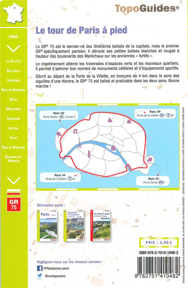 TOPO-GUIDES ; RANDOCITADINES ; le tour de Paris à pied (édition 2024)