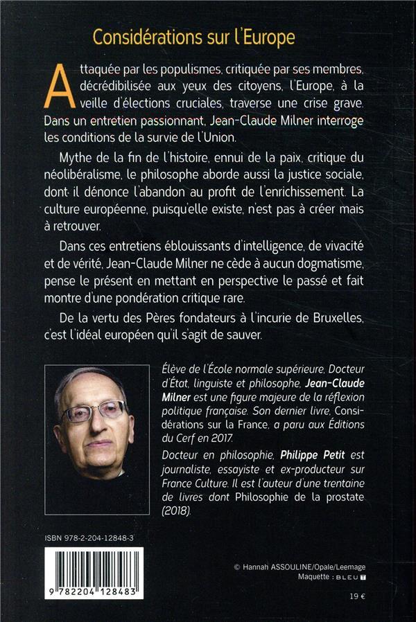 Considérations sur l'Europe ; conversation avec Philippe Petit