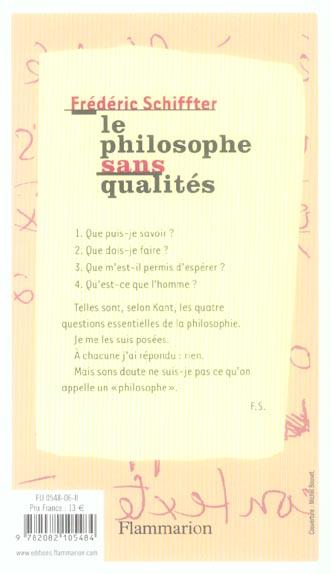 Le philosophe sans qualites