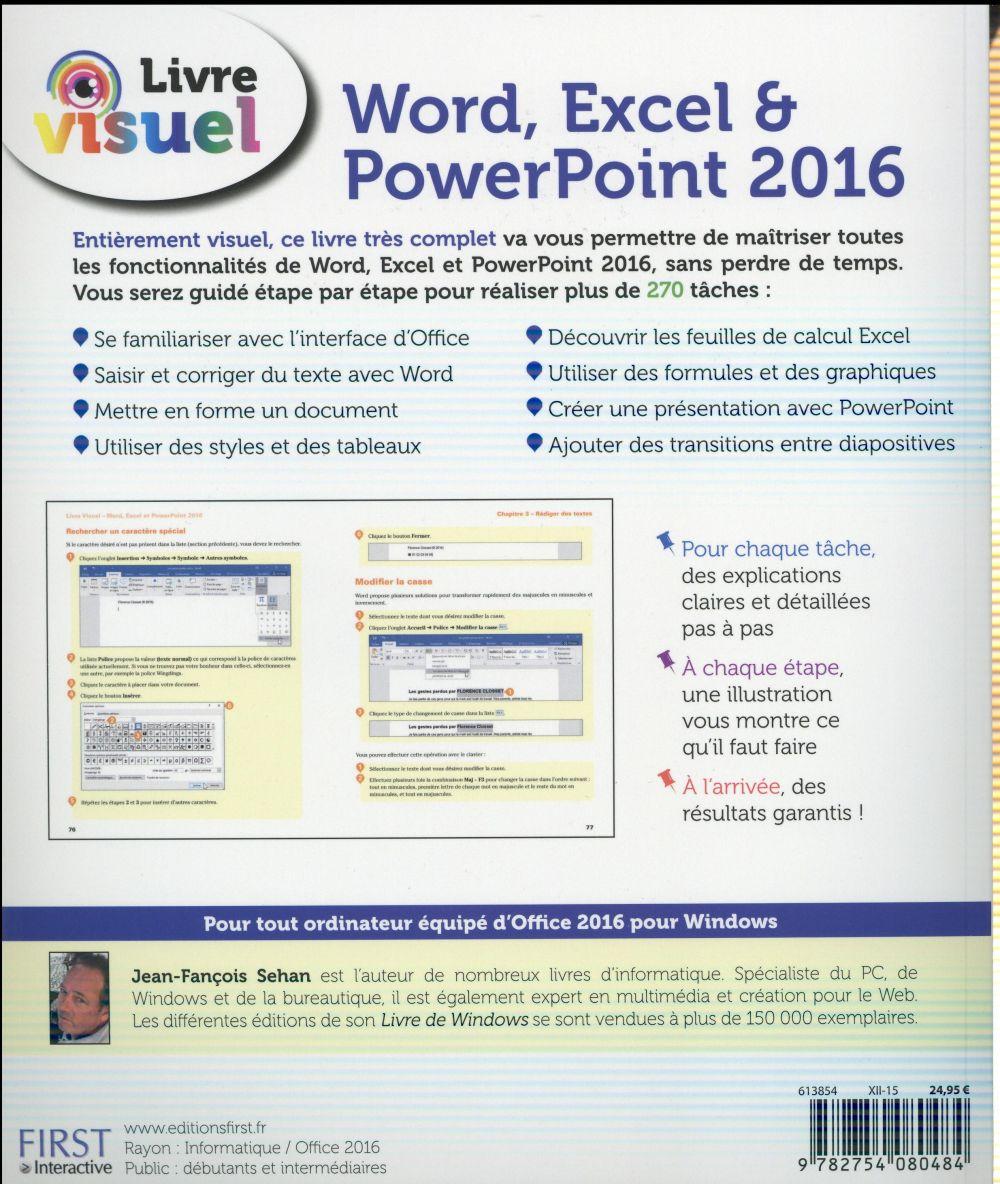 Livre visuel ; word, excel & powerpoint (édition 2016)