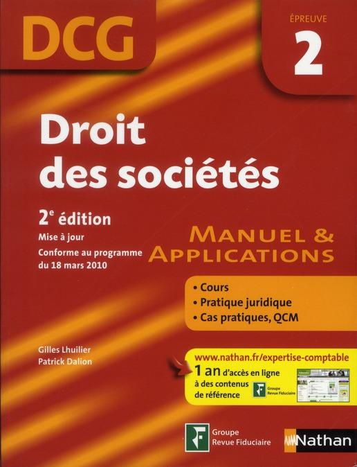 Droit des sociétés ; épreuve 2 ; DCG ; élève ; manuel & applications (3e édition)