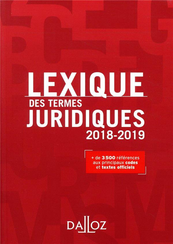Lexique des termes juridiques (édition 2018/2019)