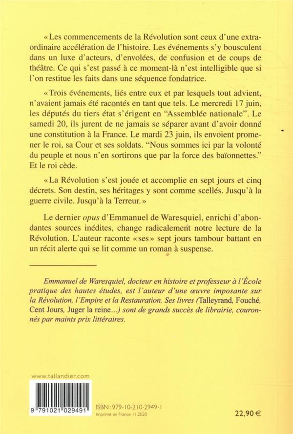 Sept jours ; 17-23 juin 1789, la France entre en révolution