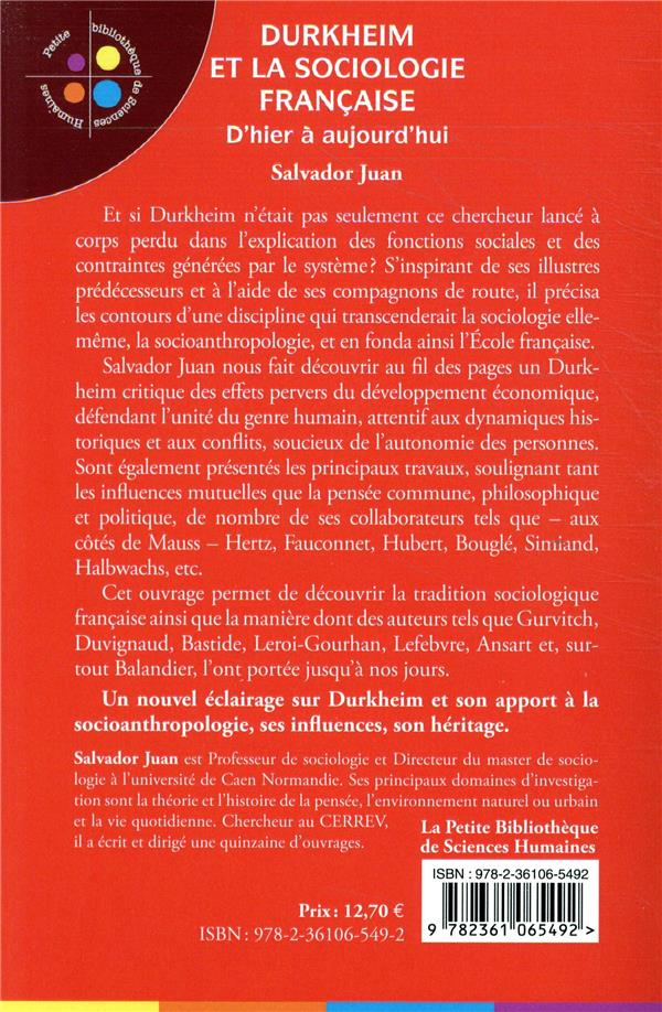 Durkheim et la sociologie française ; d'hier à aujourd'hui