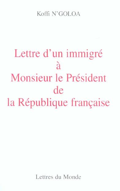 Lettre d'un immigre