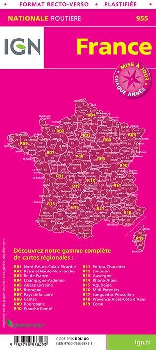 France rutière maxi format plastifiée