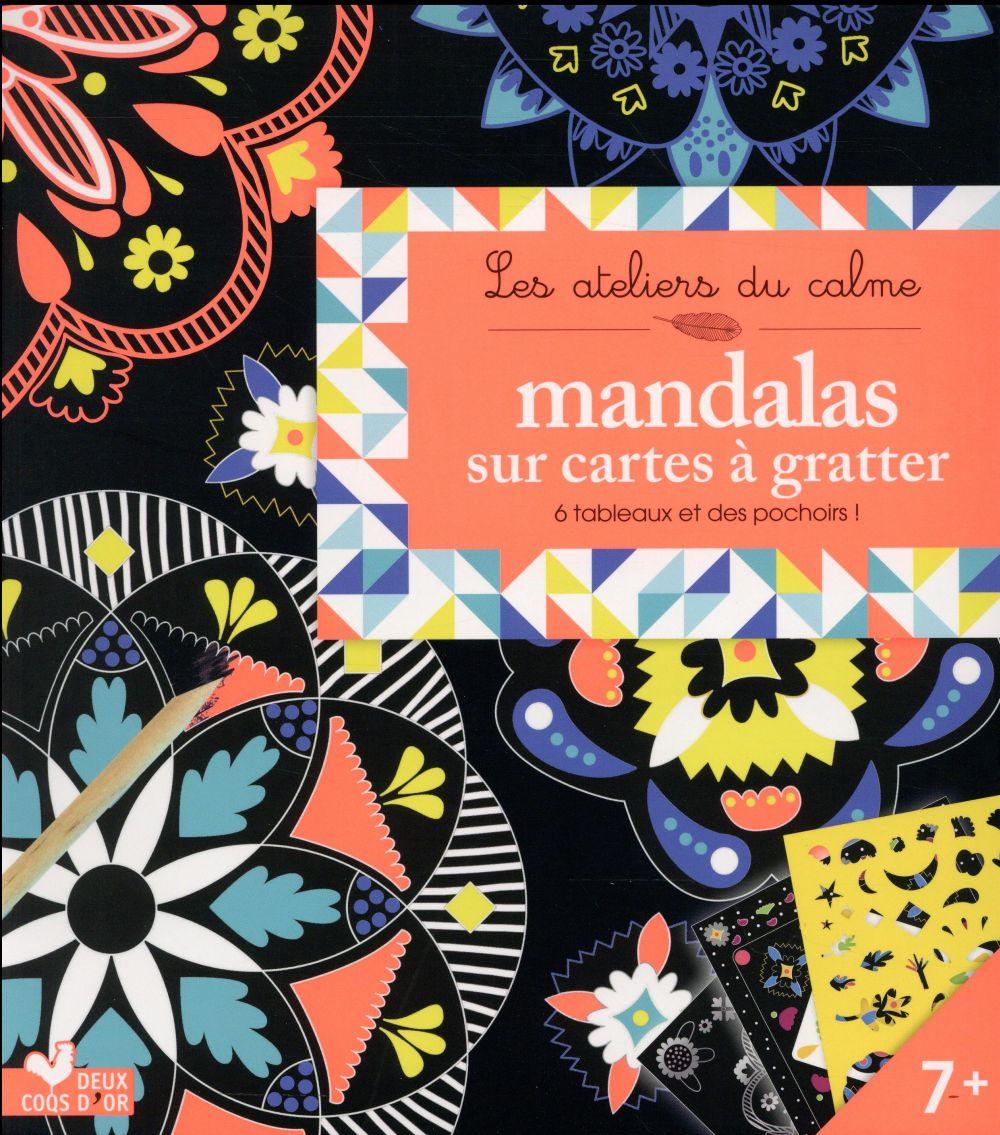 Les ateliers du calme ; mandalas sur cartes à gratter (pochette avec pochoir)