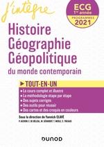 ECG 1re année Histoire Géographie Géopolitique - 2021 - Tout-en-un  - Yannick Clavé - Sabrina Tricaud - Edouard de Bélizal