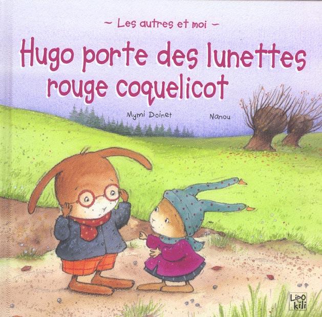 Hugo porte des lunettes rouge coquelicot
