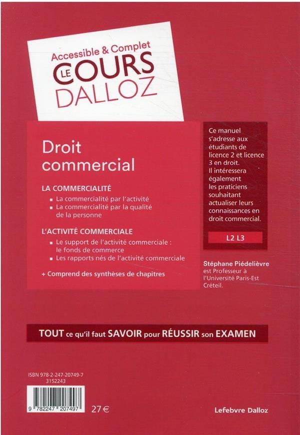 Droit commercial : actes de commerce - commercants - fonds de commerce - concurrence - consommation (13e édition)