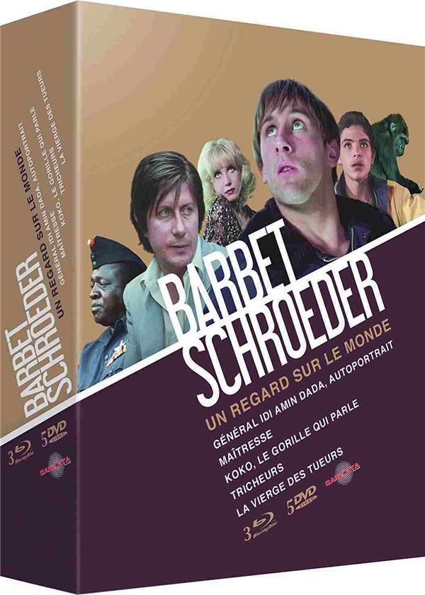 Coffret Barbet Schroeder : Un regard sur le monde (3 Blu-ray + 5 DVD : Général Idi Amin Dada, autoportrait + Maîtresse + Koko, le gorille qui parle + Tricheurs + La vierge des tueurs)