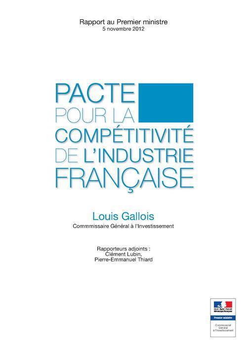 Pacte pour la competitivite de l industrie francaise-rapport gallois
