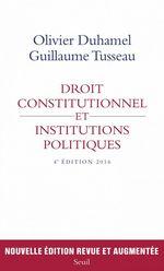 Vente EBooks : Droit constitutionnel et institutions politiques  - Olivier Duhamel - Guillaume Tusseau