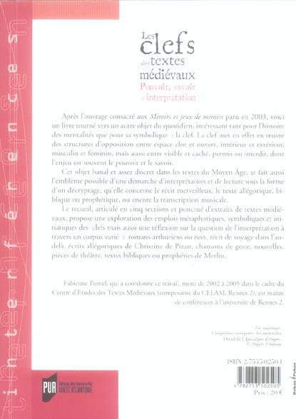 Clefs des textes medievaux. pouvoir savoir et interpretation