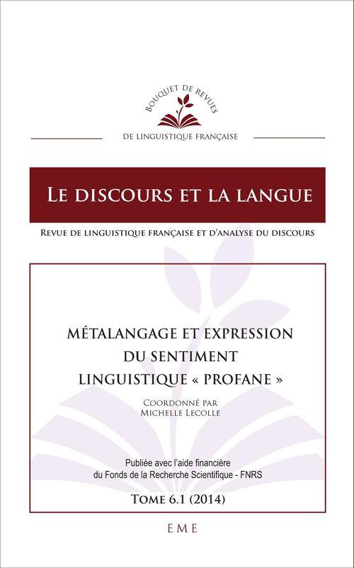 Metalangage et expression du sentiment ; linguistique profane