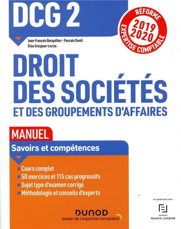 DCG 2 ; droit des sociétés et des groupements d'affaires (édition 2019/2020)