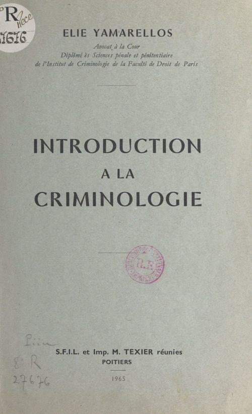 Introduction à la criminologie
