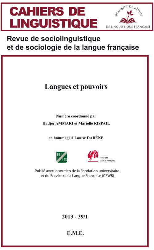 CAHIERS DE LINGUISTIQUE ; langues et pouvoirs