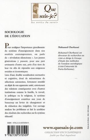Sociologie de l'éducation (7e édition)