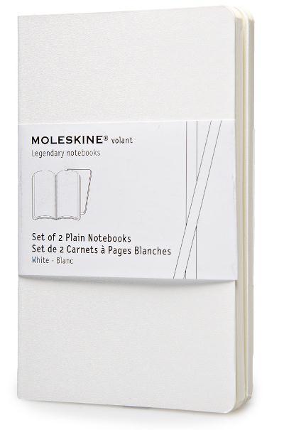 CARNET VOLANT SET DE 2 POCHE PAGE BLANCHE BLANC MOLESKINE