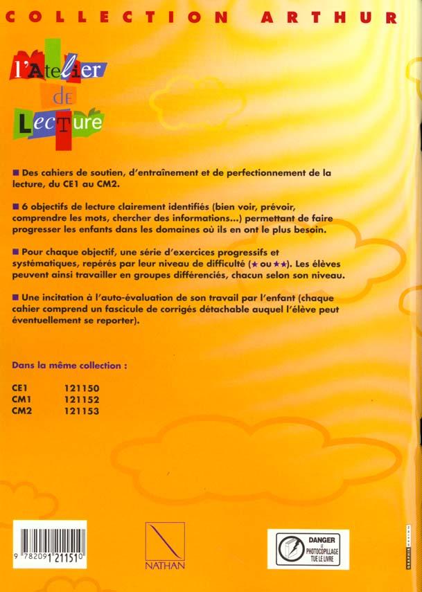 L Atelier De Lecture Francais Ce2 Cahier D Exercices Consommable Alain Bentolila Nathan Grand Format Librairie L Arbre A Lettres Paris