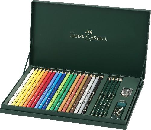 Crayon de couleur Polychromos, coffret cadeau, 20 couleurs + 4 crayons graphite Castell 9000 : 2H, HB, 2B, 8B