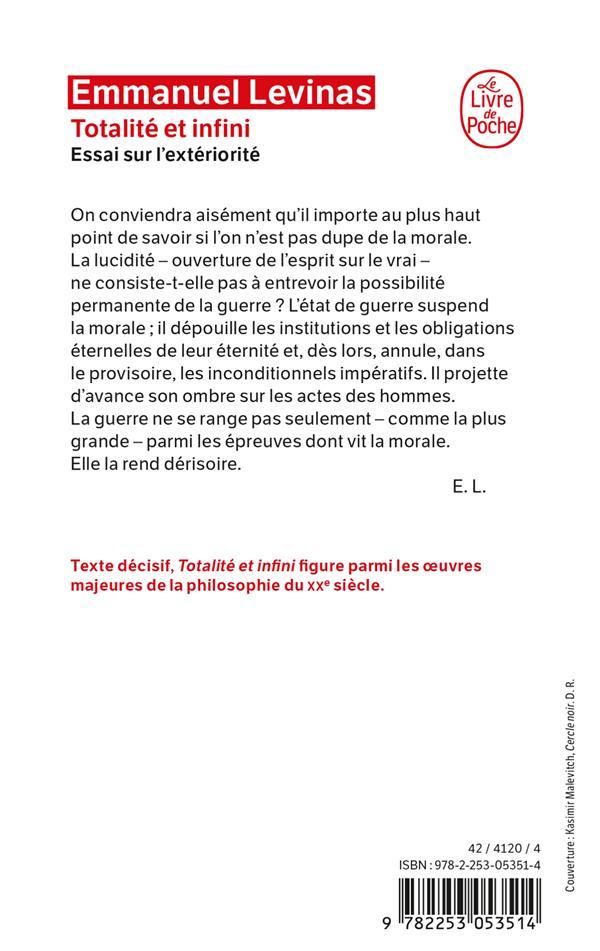 Totalite et infini - essai sur l'exteriorite