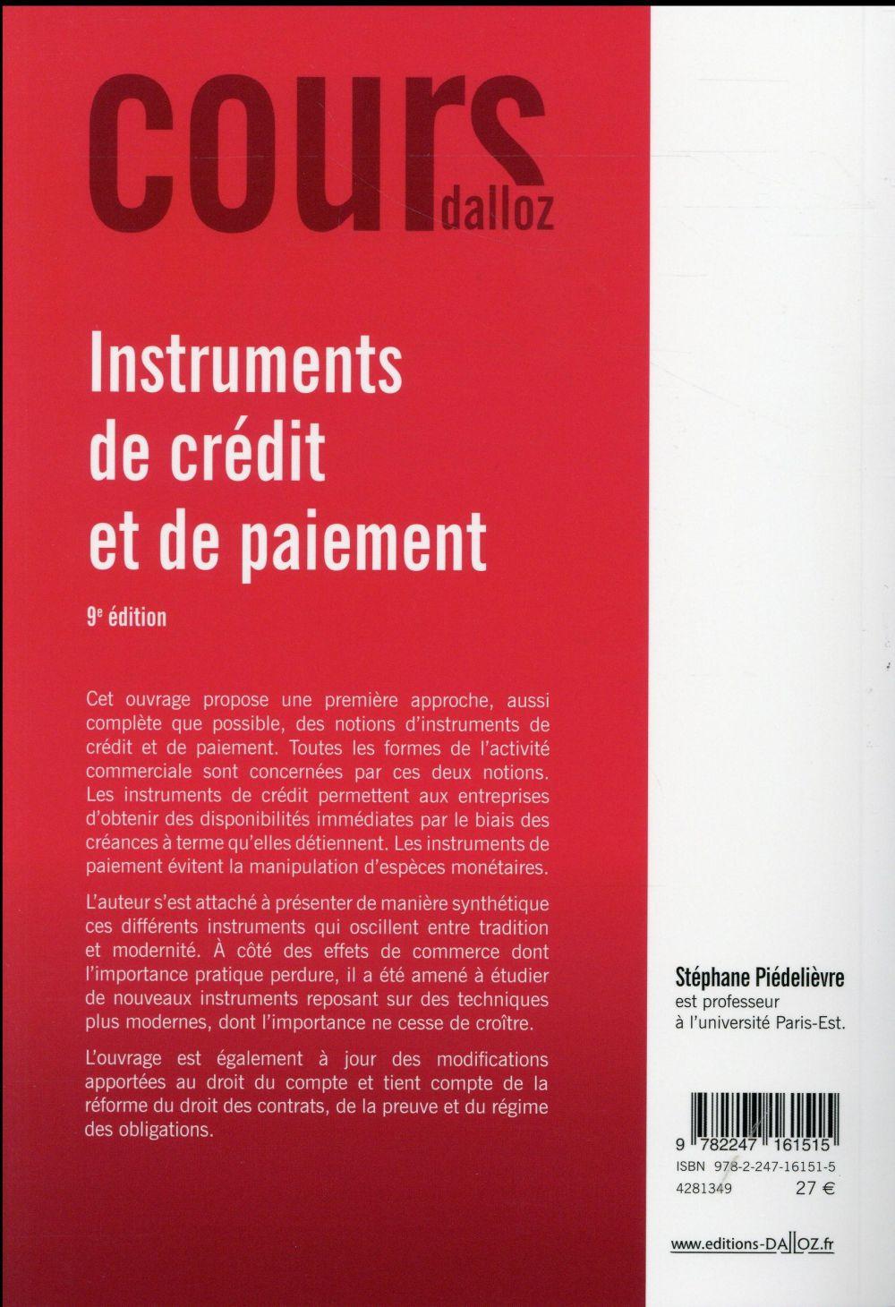 Instruments de paiement et de crédit (9e édition)