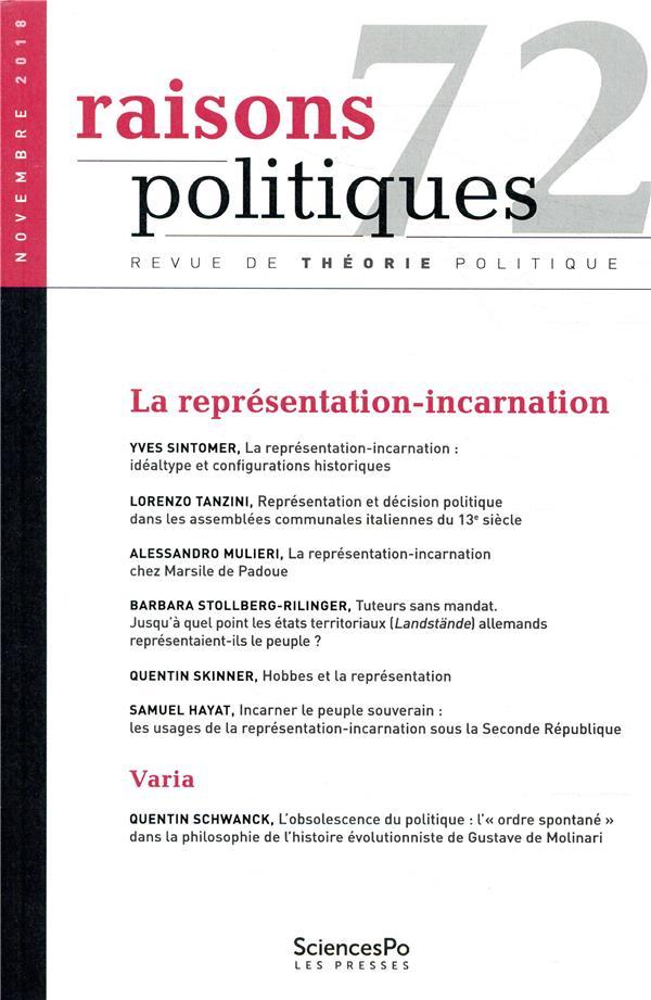 Revue raisons politiques n.72 ; novembre 2018