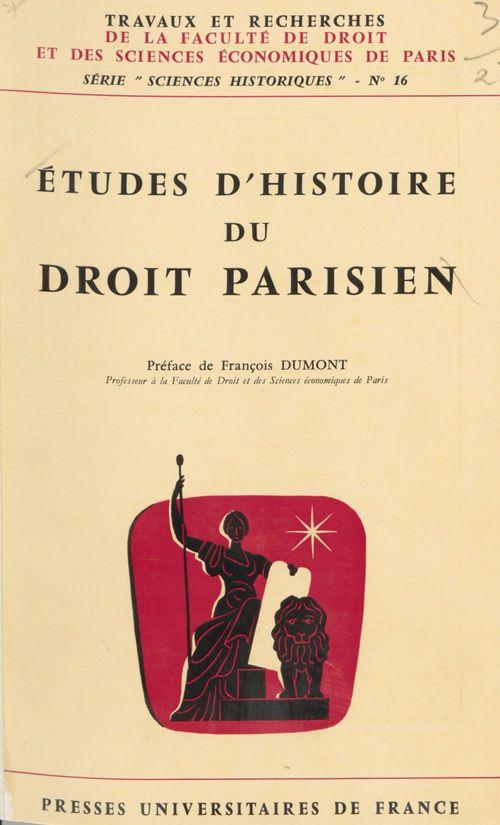 Études d'histoire du droit parisien