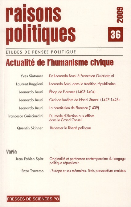 Revue raisons politiques T.36 ; actualité de l'humanisme civique