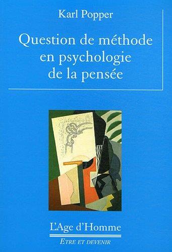 Question De Methode En Psychologie De La Pensee