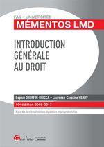 Vente Livre Numérique : Mémentos LMD - Introduction générale au droit - 10e édition 2016-2017  - Sophie Druffin-Bricca - Laurence Caroline Henry