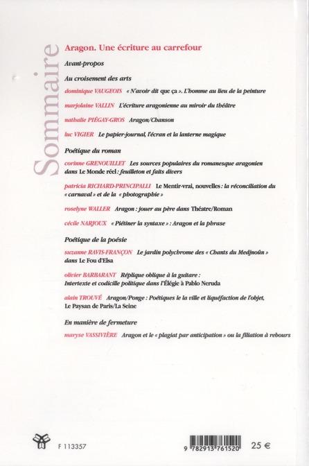 Revue des sciences humaines t.305; aragon, une ecriture au carrefour