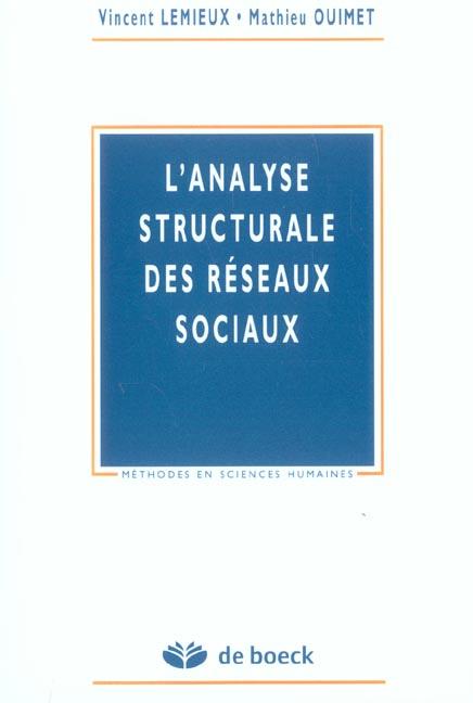 L'analyse structurale des reseaux sociaux