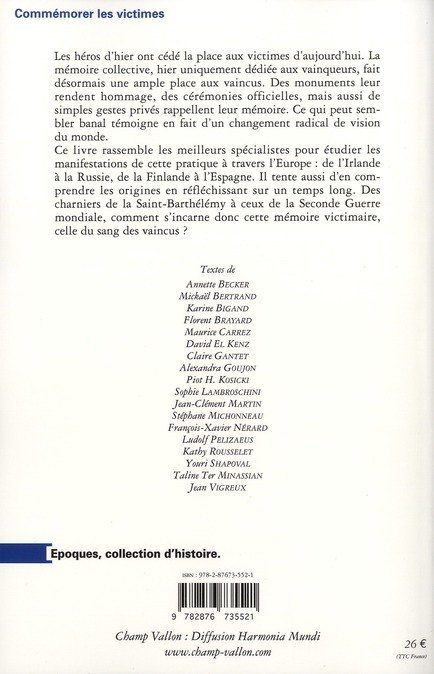 Commémorer les victimes en Europe (XVIe-XXIe siècles)
