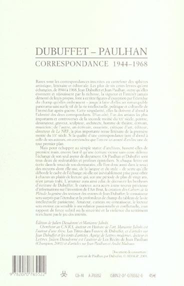 Les cahiers de la NRF ; Dubuffet, Paulhan ; correspondance ; 1944-1968