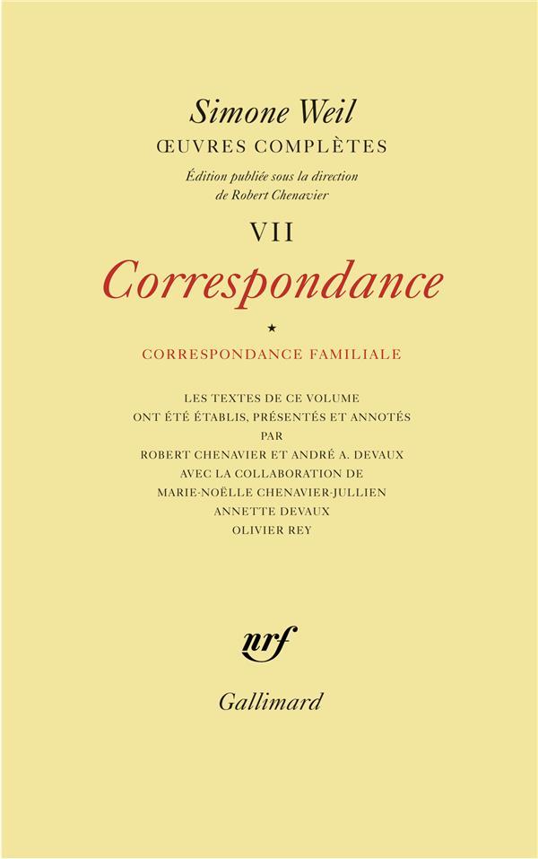 Oeuvres complètes t.7 ; correspondance t.1