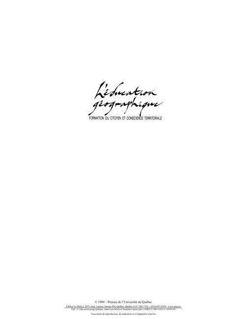 l'éducation géographique ; formation du citoyen et conscience territoriale (2e édition)