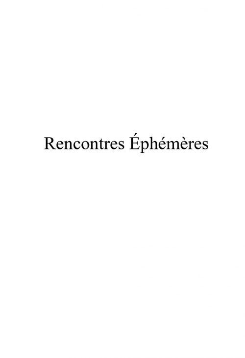 RENCONTRES ÉPHÉMÈRES