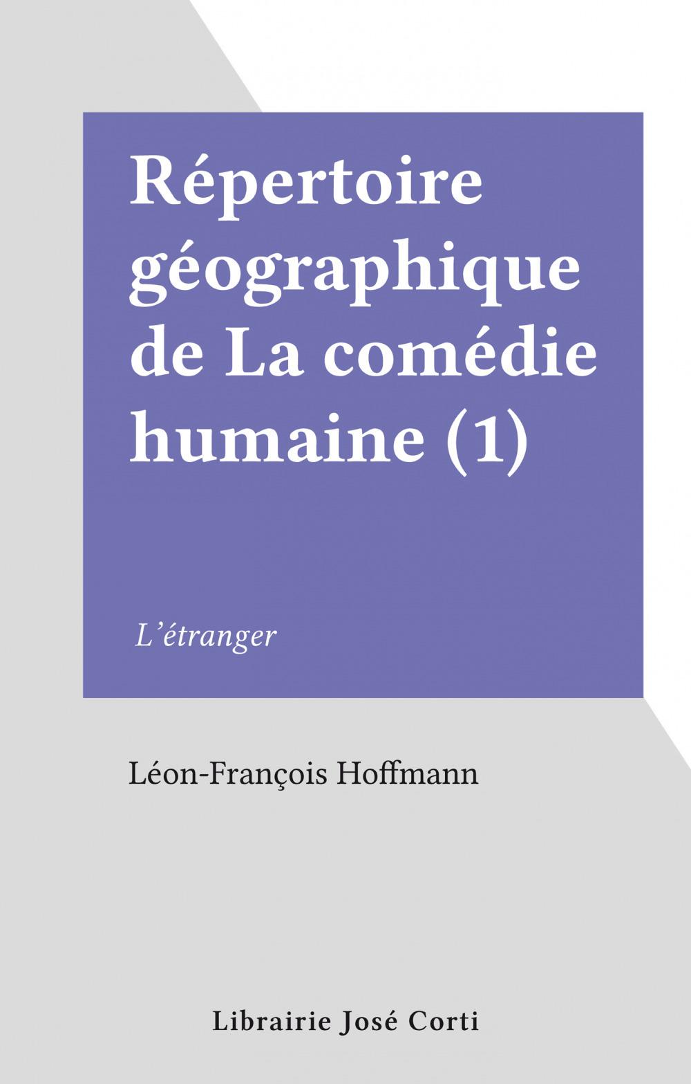 Répertoire géographique de La comédie humaine (1)