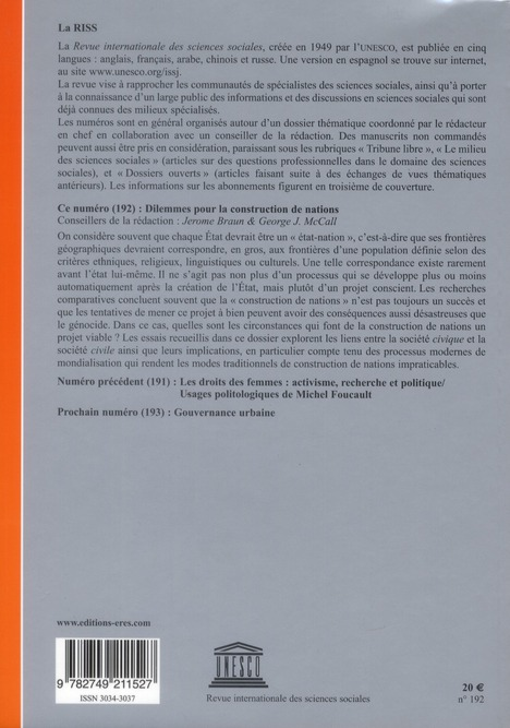 Riss t.192; dilemmes pour la construction des nations