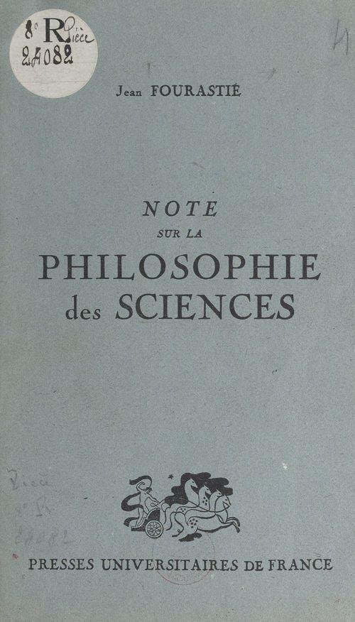 Note sur la philosophie des sciences