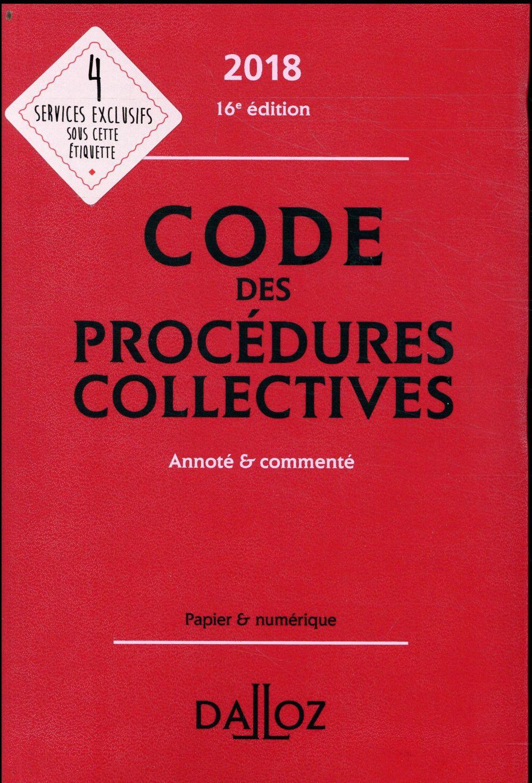 Code des procédures collectives annoté et commenté (édition 2018)