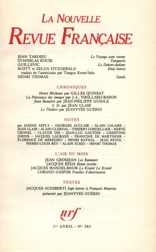 La Nouvelle Revue Française N° 363  - Collectifs  - La Nouvelle Revue Francaise