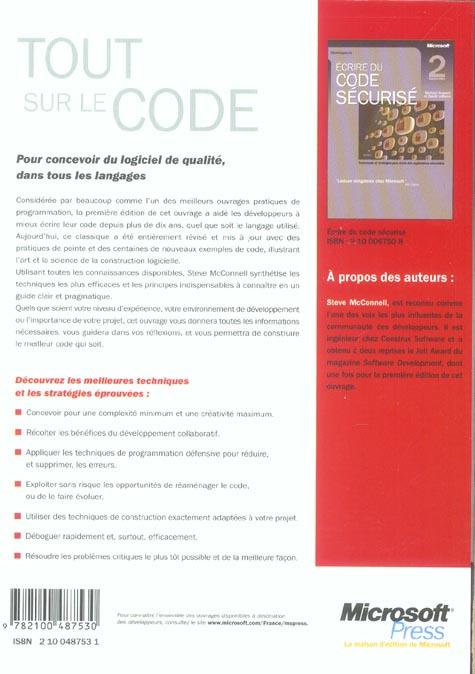 tout sur le code - pour concevoir du logiciel de qualite dans tous les langages