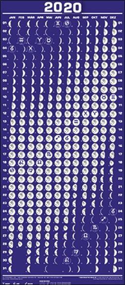 Calendrier Solunaire.Calendrier Lunaire 2020 Grand Format Roger Liggenstorfer Solanacee Poster Librairie Maupetit Marseille