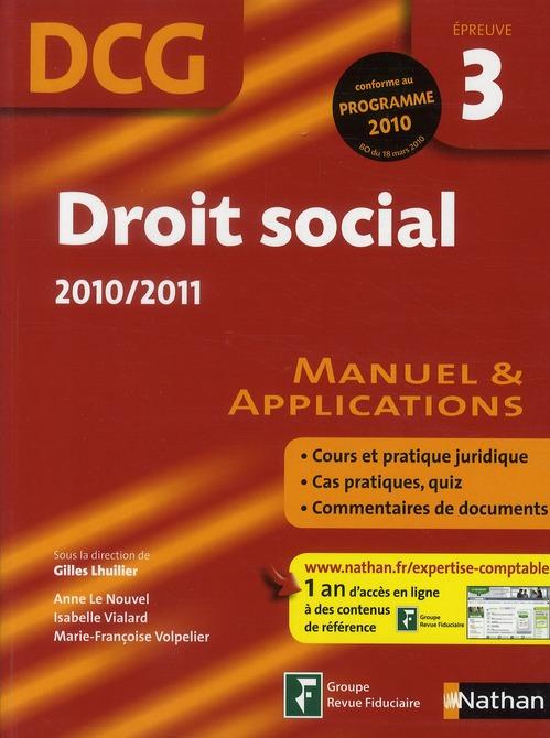 Droit social ; DCG épreuve 3 ; manuel de l'élève (édition 2010/2011)