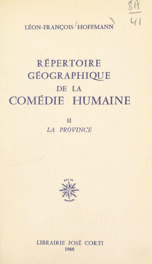 Répertoire géographique de La Comédie Humaine (2)